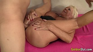 Breasty Grandma Mandi McGraw Sucks a hose and Then Rides It with Enthusiasm
